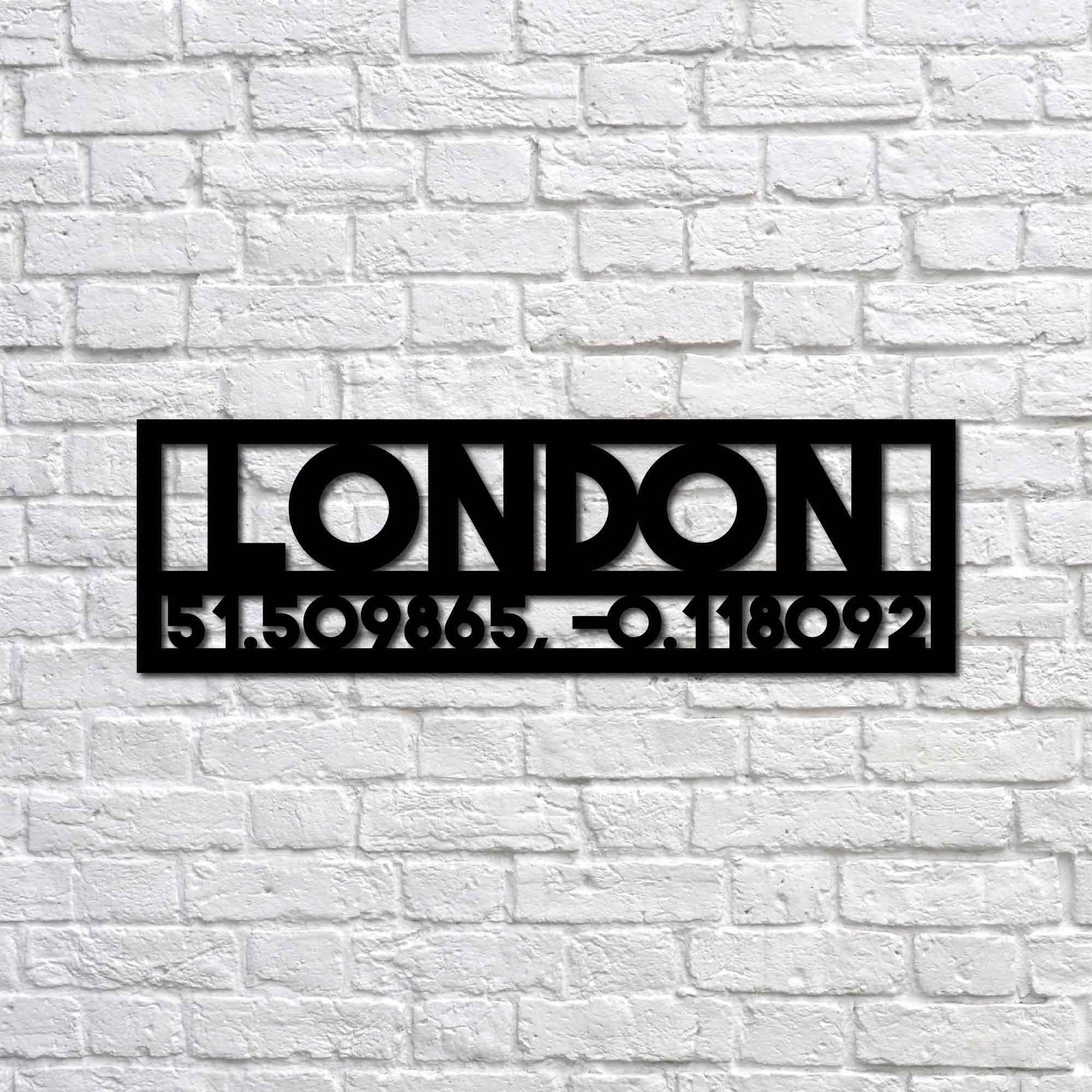 London and Coordinates – Metal Tablo