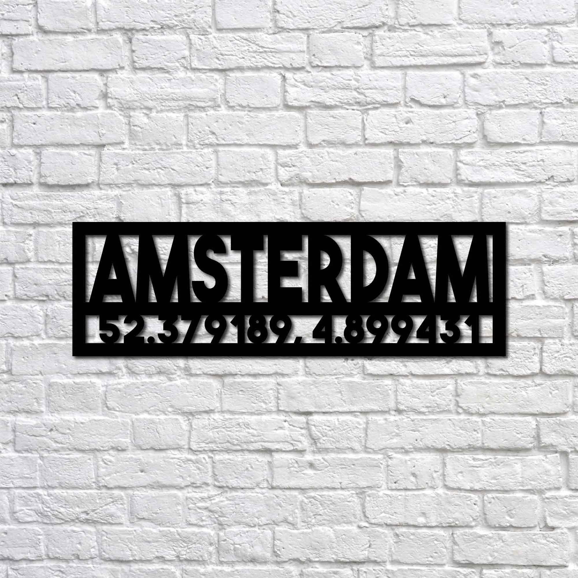 Amsterdam and Coordinates – Metal Tablo