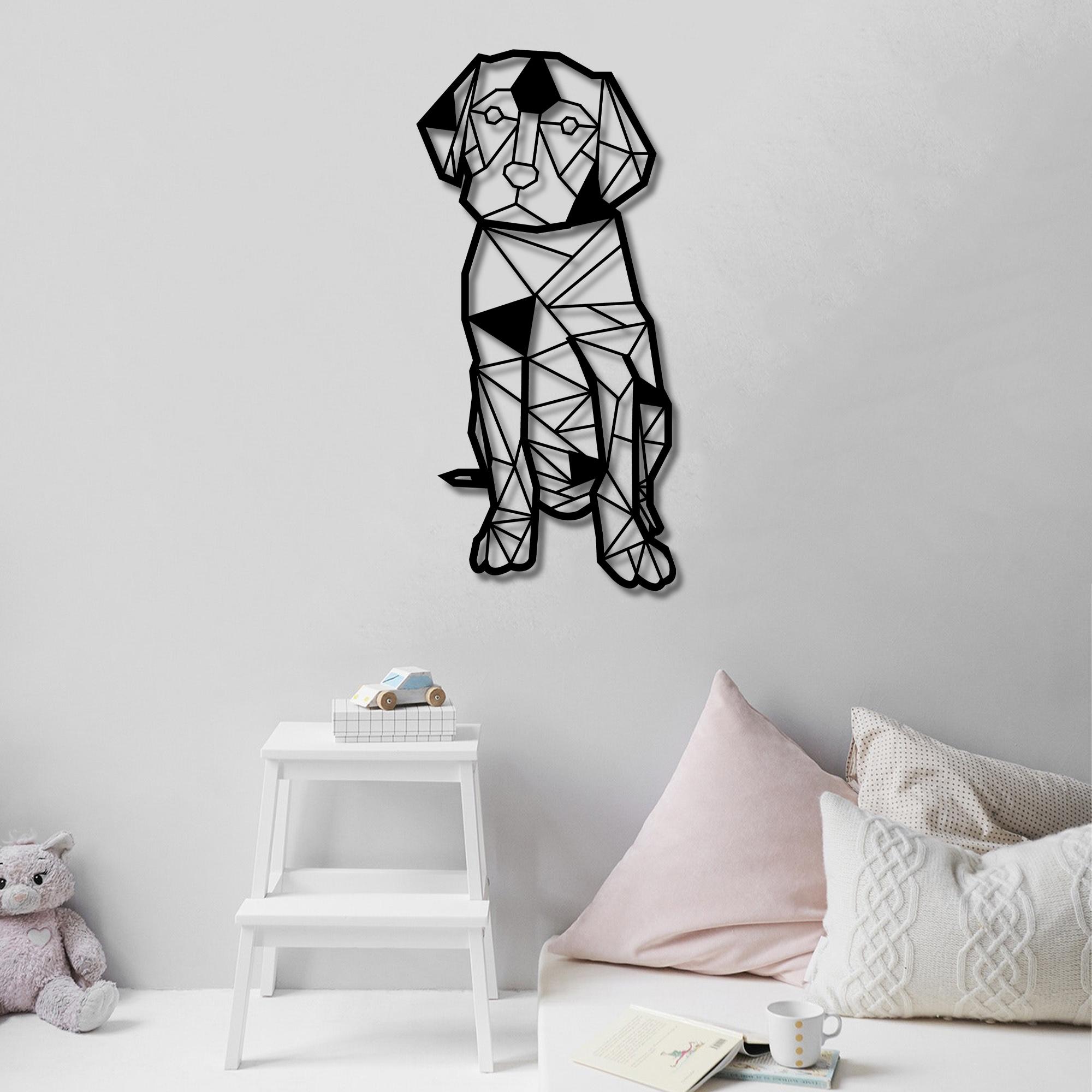 Geometric Dog, Labrador – Metal Tablo