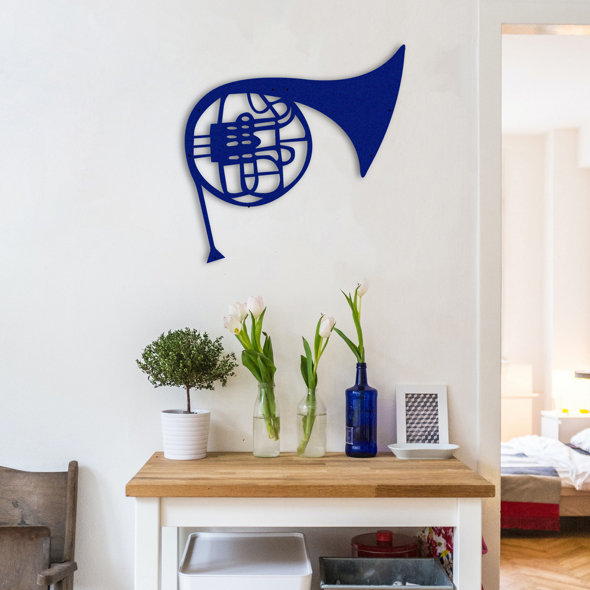 Blue French Horn – Metal Tablo
